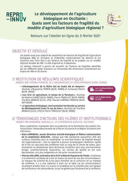 Synthèse Atelier PSDR - facteurs fragilités AB - 5 février 2021 - Page1