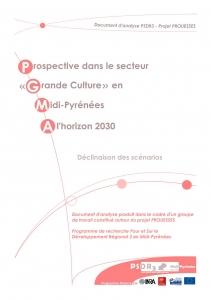 """Couverture du Document d'analyse PSDR """"Prospective dans le secteur grande culture en Midi-Pyrénées à l'horizon 2030, Déclinaison des scénarios"""""""